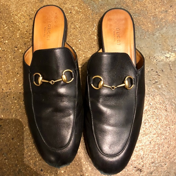 92c3901c6ee Gucci Shoes - Gucci Princetown Black Leather Horsebit Mules 39
